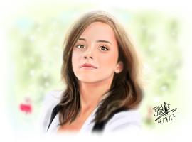 iPad finger painting - Emma Watson by chaseroflight