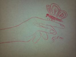 5-minute sketch 'Butterfly Alight' by Skelefish