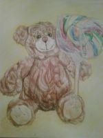 Teddy and a lolipop by Melissatat