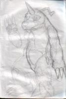 An unfinished Gabumon sketch by ivanprime93