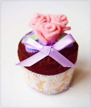 Felted Rose Blossoms Cupcake by CraftersBoutique