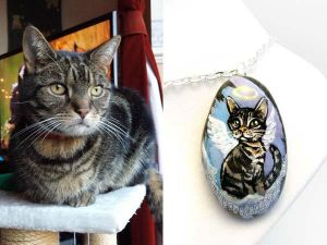 Custom Tabby Cat Pendant Necklace by sobeyondthis