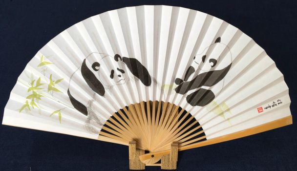Lazy day pandas, Japanese fan hand-painted by catherinejao