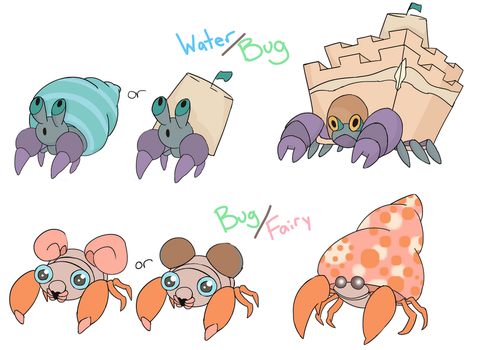 Paras line and Dweeble line Alolan Forms by LaurenKoi