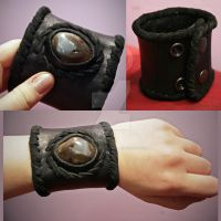 Black Leather Agate Cuff by CRISTYNNA-NECROPOLIS