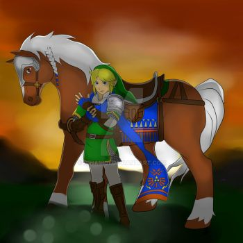Link and Epona by Gina1991