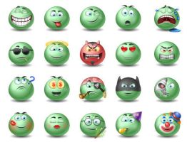 Green Emotiocns Icons set by FreeIconsFinder