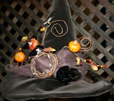Autumnal Garden Witch Hat by mermaidencreations