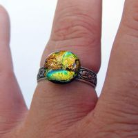 Fused Dichroic Glass Ring by Create-A-Pendant