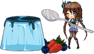 Sayo and her blue pudding by valiryn