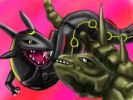 Rayquaza and Steelix for Sol Planta by pie-lord