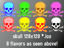 skull 128x128 8icons by gr8koogly