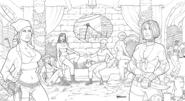 Post Apocalyptic Harem Pencils by BillMcKay