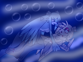 Sel and Kyomi under the Seaia Waters by SelTheQueenSeaia
