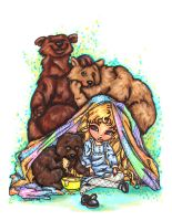 Goldilocks and the three bears by JadeDragonne