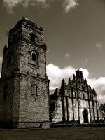 Paoay Church Black and White by milesgore