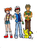Pokemon: Ash, Misty, and Brock: color by Octoberlin