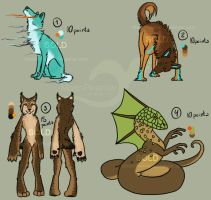 Adoptable batch 01 -SOLD- by MoonPhanter