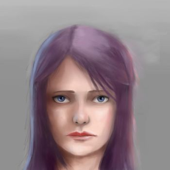 Purple Haired Girl by Makuo
