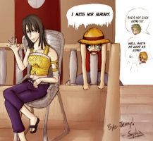 Robin + Luffy say bye to Jenny by Kanjii