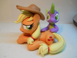 Applejack x Spike Massage by EarthenPony