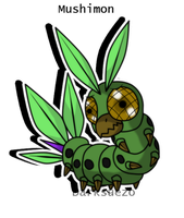 Mushimon the caterpillar digimon by Inakamon