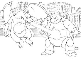 Chairzard and Blastoise Kaiju Battle by ibroussardart
