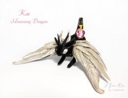 Koe, Silverwing Dragon by rosepeonie