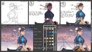 CHUN LI COLORING TUTORIAL by BlueDemon13