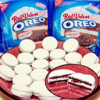 White chocolate-covered Red Velvet Oreos by TheKnightAngel