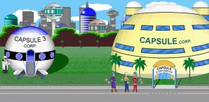 Capsule Corp Background by spritezmaster