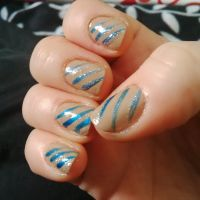 Tan and Blue Stripes by morgie39