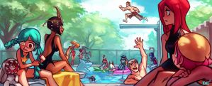 Skullgirls PC art Gallery - Pool party! KNKL by Knockwurst