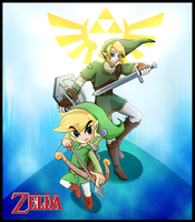 Legend of Zelda - Link and Toon link by kyodashiro