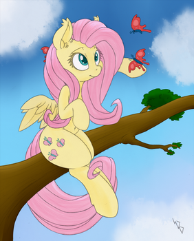 Fluttershy Sketch (colored) by Dragonfoorm