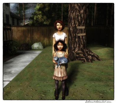 Clementine, Sandra and cat by fodrom