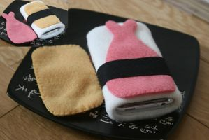 Sushi iPhone cozy by Soggy-Wolfie