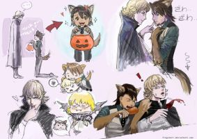 Tiger and Bunny Halloween Sketchies by frogstarr