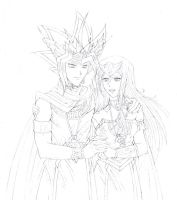 Yami and Neftis Sketch by Yamigirl21
