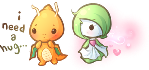 pokemon doodles...dragonite and gardevoir by lovenotestudios