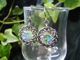 AB crystal chaton in steel persian earrings by BacktoEarthCreations