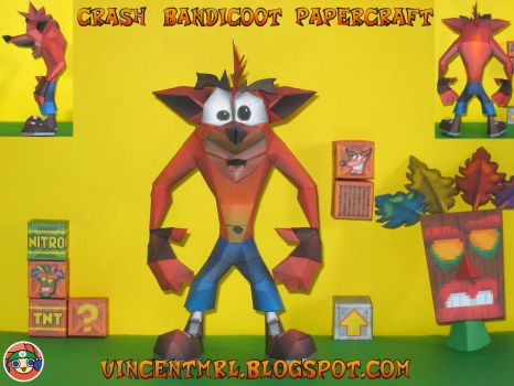 Crash Bandicoot 2-3 - Crash Papercraft by Vincentmrl
