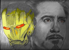 Mr Iron Man Robert Downey jr and little colour by nev777