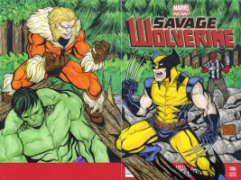 Wolverine vs Sabretooth sketch cover commission by mdavidct