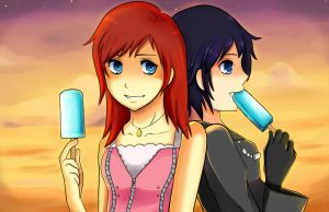 Xion and Kairi by freesh00t