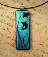 Beneath the Pond Fused Glass Pendant by FusedElegance
