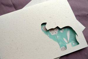 Elephant - Cut Out Card by RubyWren