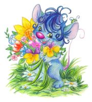 Blue mouse with flowers by jkBunny