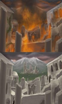 City is destroyed by fire by Erulisse2