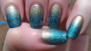Gold and Teal gradient by rabbithat8